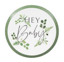 "Load image into Gallery viewer, Botanical Baby Shower - ""Hey Baby"" Paper Plates"