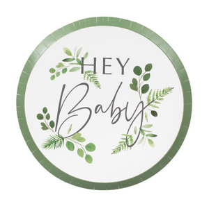 "Botanical Baby Shower - ""Hey Baby"" Paper Plates"