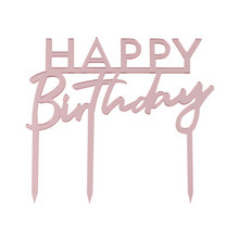 "Load image into Gallery viewer, Pink ""Happy Birthday"" Cake Topper"