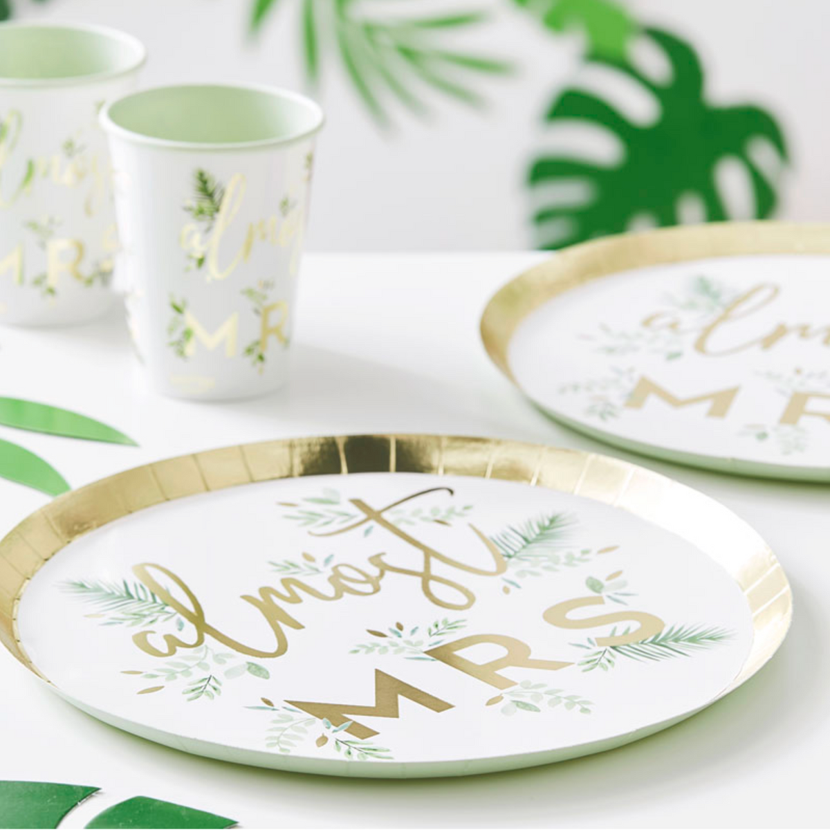 "Botanical Hen ""Almost Mrs"" Paper Plates"