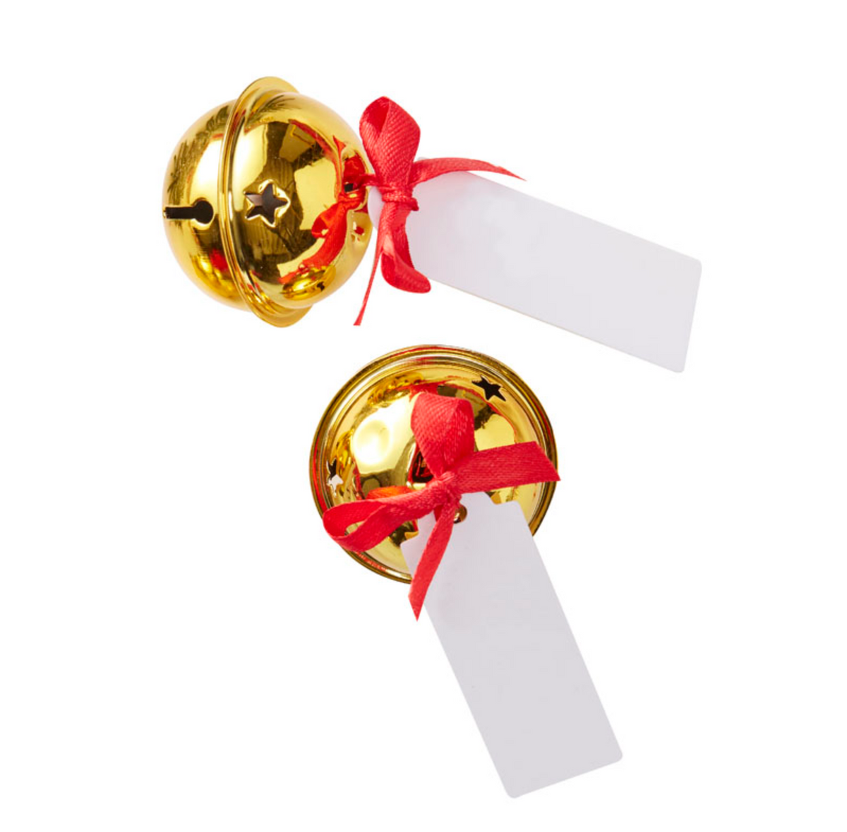 Red & Gold Christmas Bell Place Card Holders