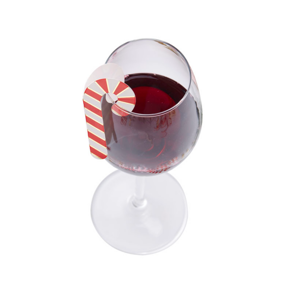 Red & Gold Christmas Candy Cane Glass Decorations