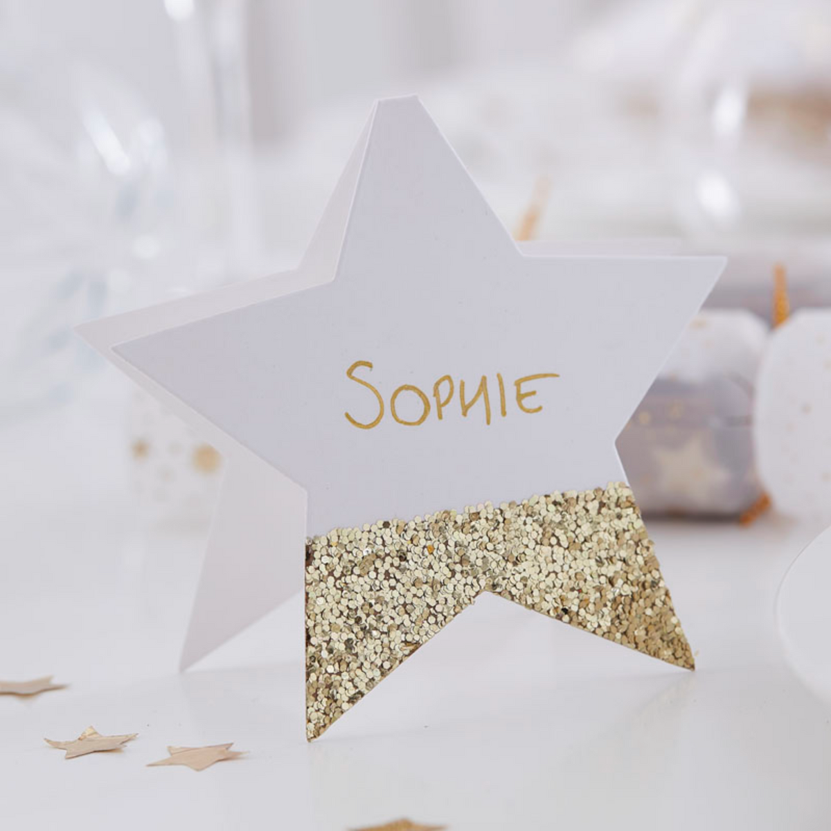 Christmas Star Gold Glitter Place Card