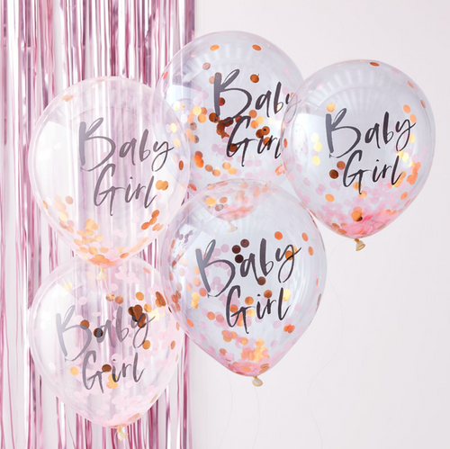Twinkle Twinkle Baby Shower - Pink & Rose Gold Baby Girl Confetti Balloons