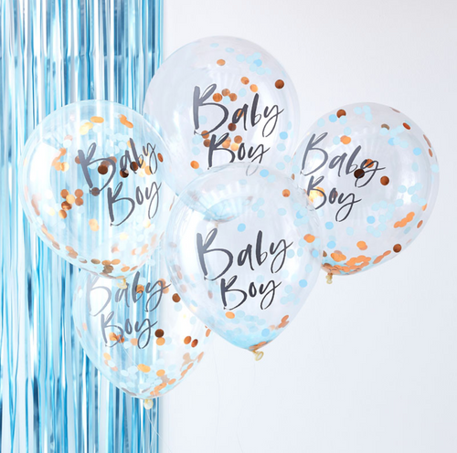 Twinkle Twinkle Baby Shower - Blue & Rose Gold Baby Boy Confetti Balloons