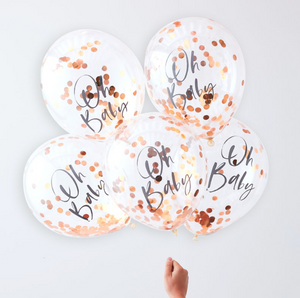 "Twinkle Twinkle Baby Shower - ""Oh Baby"" Rose Gold Confetti Balloons"
