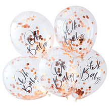 "Load image into Gallery viewer, Twinkle Twinkle Baby Shower - ""Oh Baby"" Rose Gold Confetti Balloons"