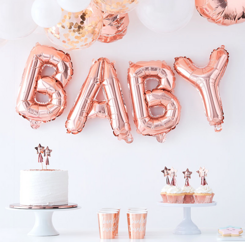 Twinkle Twinkle Baby Shower - Rose Gold Baby Balloon Bunting