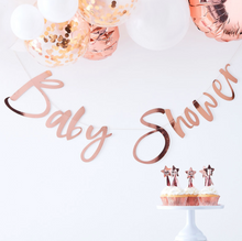 Load image into Gallery viewer, Twinkle Twinkle Baby Shower - Rose Gold Baby Shower Bunting