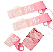 Load image into Gallery viewer, Bride Tribe - Iridescent Bride Tribe Sashes (6 Pack)
