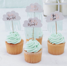 Load image into Gallery viewer, Hello World Baby Shower - Cupcake Picks