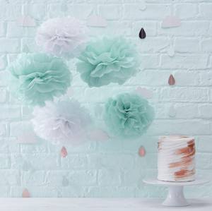 Hello World Baby Shower - Mint and White Pom Poms