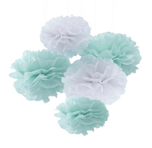 Load image into Gallery viewer, Hello World Baby Shower - Mint and White Pom Poms