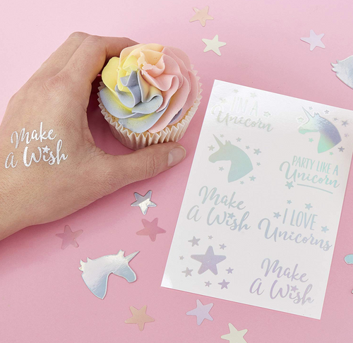 Make a Wish Unicorn Party - Iridescent Temporary Tattoos