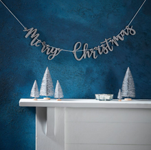 "Load image into Gallery viewer, Silver Glitter ""Merry Christmas"" Wooden Bunting"