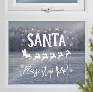"""Santa Stop Here"" Christmas Window Sticker"