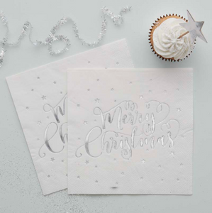 "Silver Star ""Merry Christmas"" Paper Napkins"
