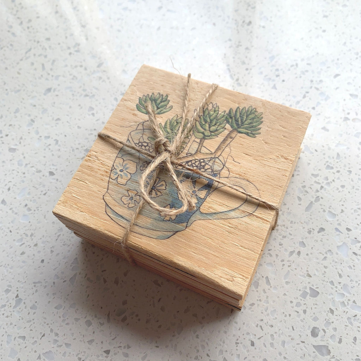 Wooden Coasters – Teacup Succulents