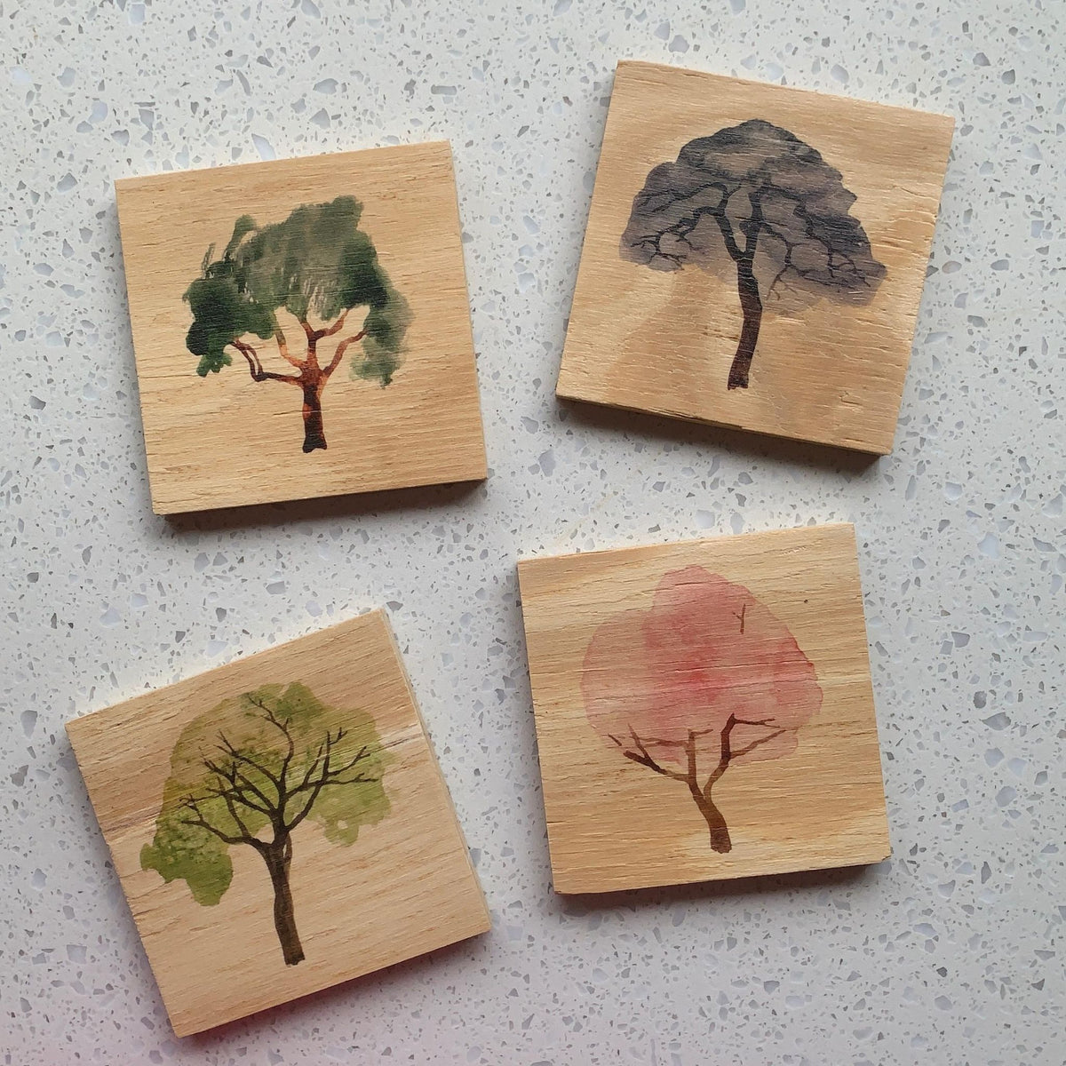 Wooden Coasters – Watercolour Trees