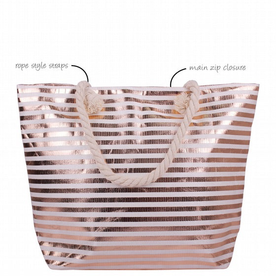 Rose Gold Metallic Stripe Canvas Bag