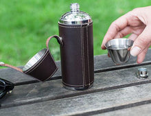 Load image into Gallery viewer, Leather Camping Flask and Shot Glass Set