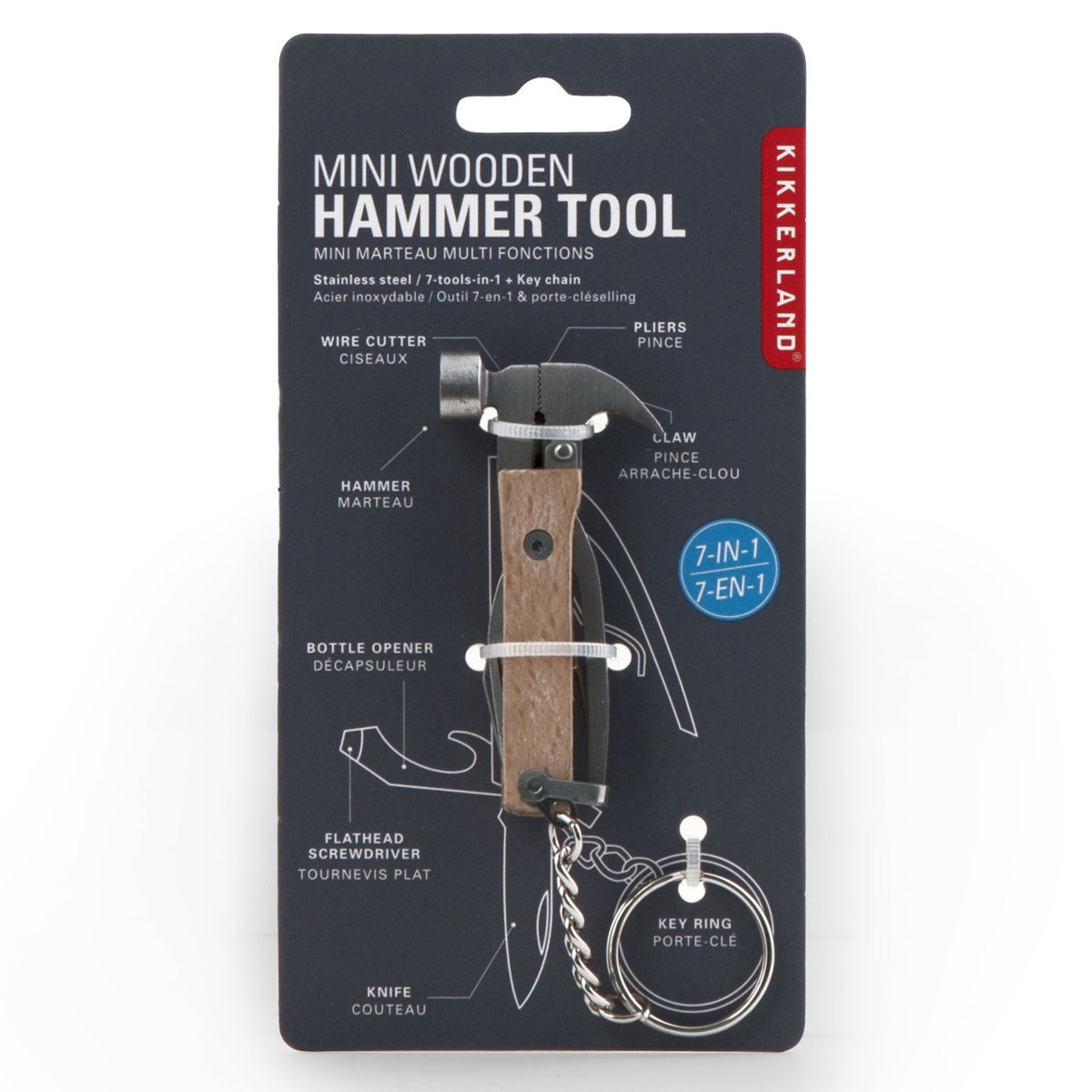 Mini Wooden Hammer Tool with Keyring