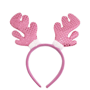 Sparkly Pink Christmas Reindeer Horns
