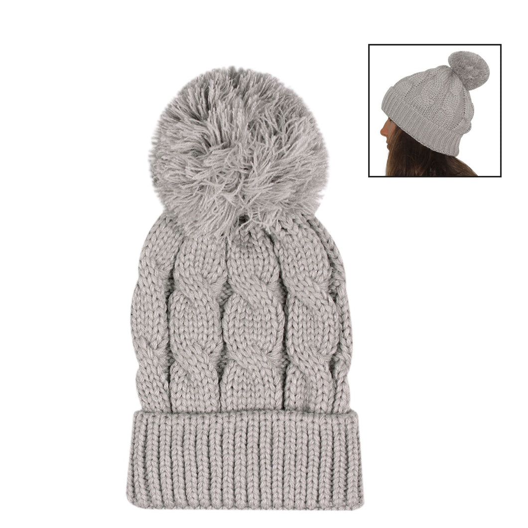 Cosy Grey Knitted Beanie