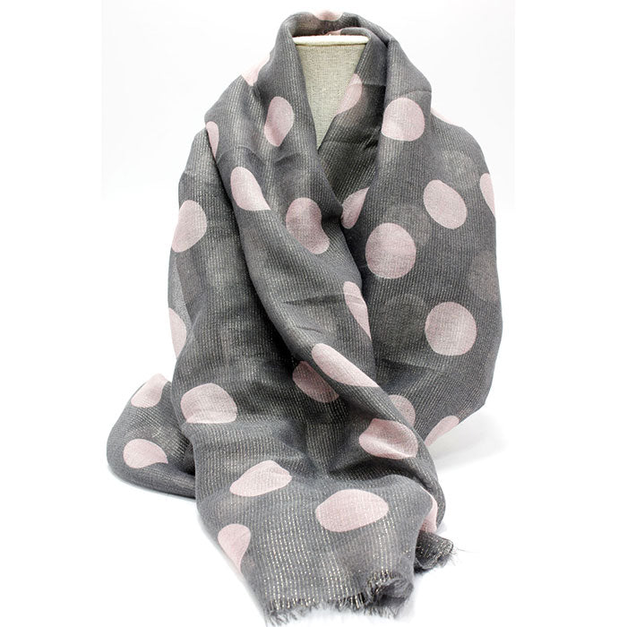 Cosy Grey and Pink Dot Sheer Scarf