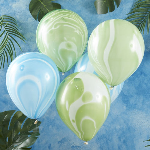 Roarsome Party - Marbled Balloons (Blue and Green)