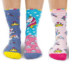 Load image into Gallery viewer, Unicorn Daze Tweens' OddSocks (shoe size 12-5½)