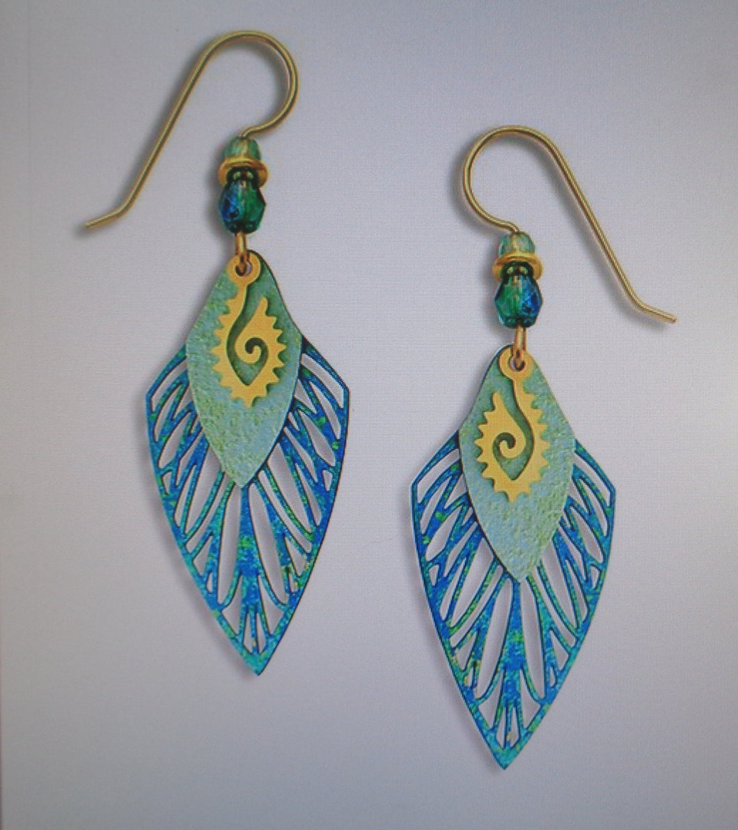 Earrings by Adajio, Rich Blue Feather w/Arrowhead & GP Ancient Eye Symbol