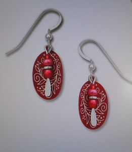 Earrings by Adajio, Cranberry 'berries & vines' etched oval w/bead drop