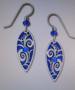 Earrings by Adajio, Royal blue pointed oval w/IR flowery overlay & cab