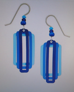 Earrings by Adajio, Three Part Squares and Rectangles in Rich Blues