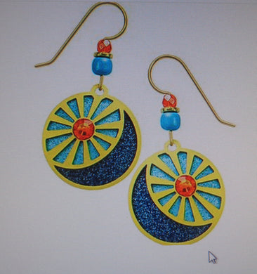 Earrings by Adajio, Sun and Moon in GP