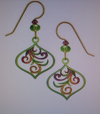 Earrings by Adajio, Teardrop with tendril in Green and Purple