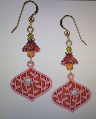 Earrings by Adajio, Deco Teardrop in Pinks with Leaves and Flower