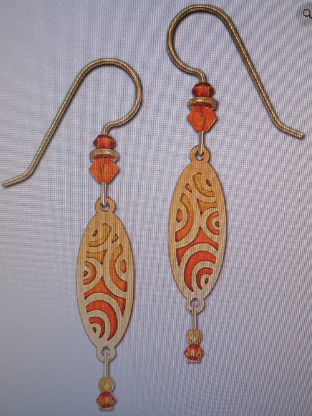 Earrings by Adajio, GP Circles over Orange Backer with Bead Drop