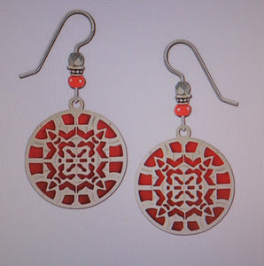 Earrings by Adajio, IR Round Kaleidoscope over Red Ombre