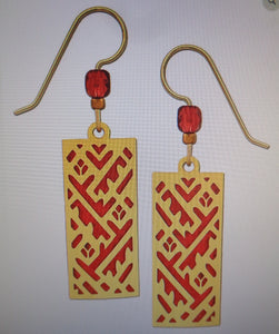 Earrings by Adajio, Rectangle GP Design over Red