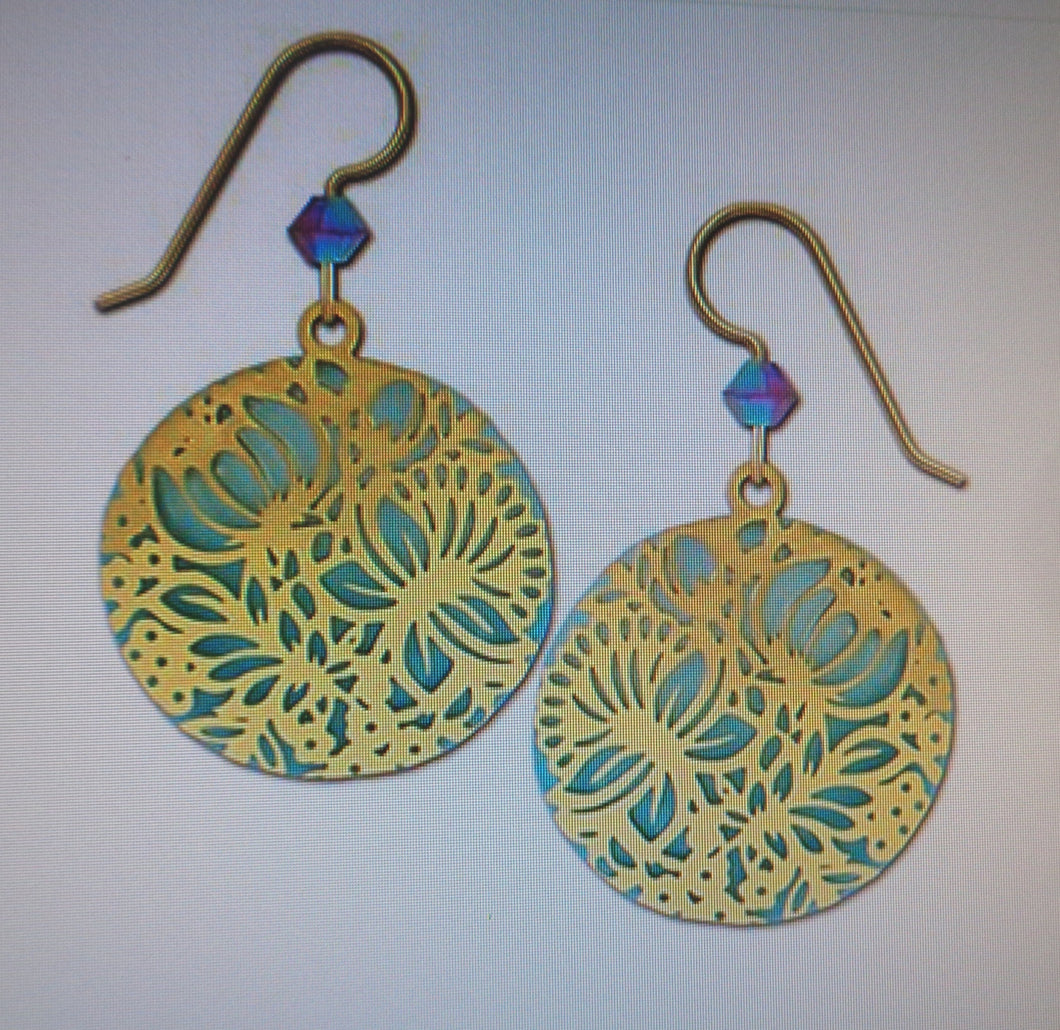 Earrings by Adajio, GP Floral Design over Pale Blue