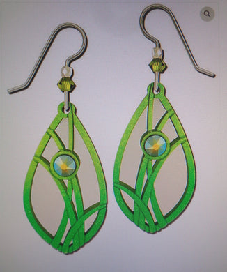 Earrings by Adajio, Green Grasses on Teardrop