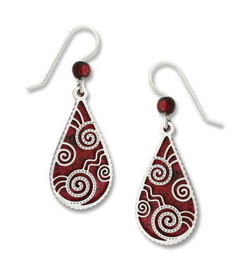 Earrings by Adajio, Deep Red Teardrop w/IR Teardrop Filigree