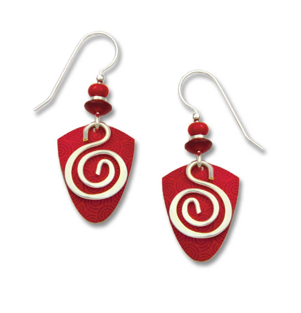 Earrings by Adajio, Vibrant Red Shield w/Silver Plate Wire Spiral