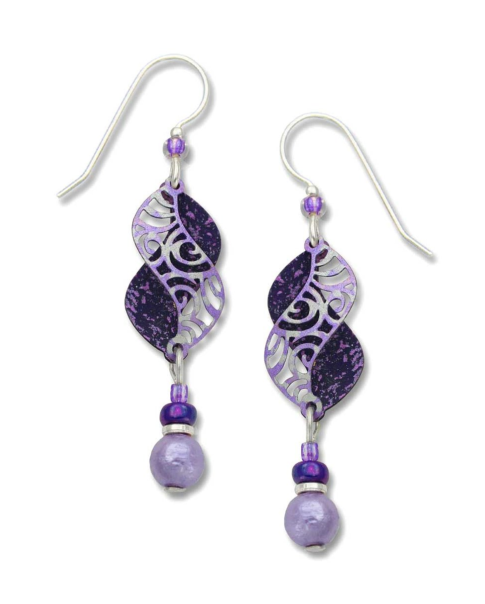 Earrings by Adajio, Violet/Purple Double Curls w/Bead Drop