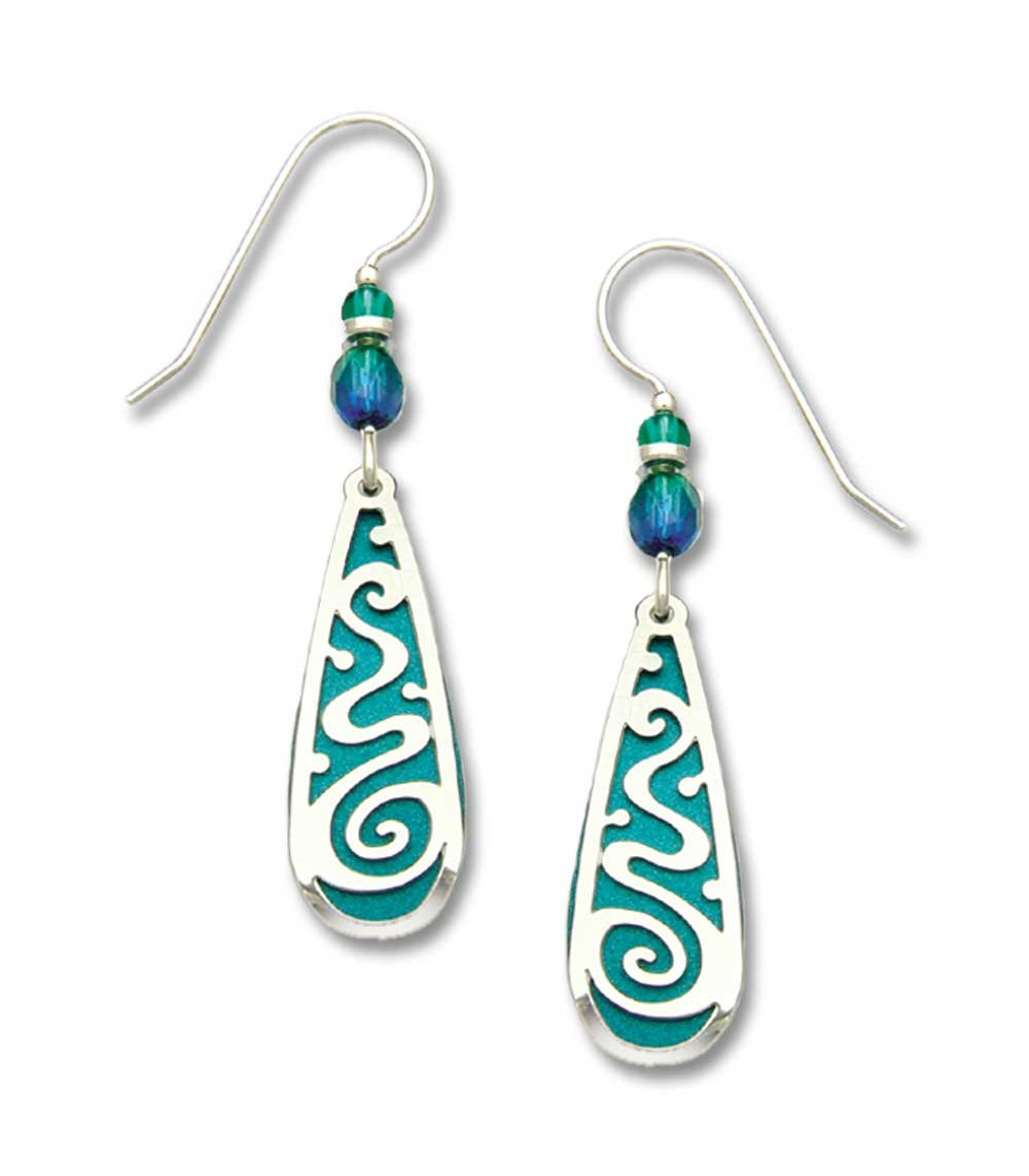 Earrings by Adajio, Teal Teardrop w/IR Filigree Overlay