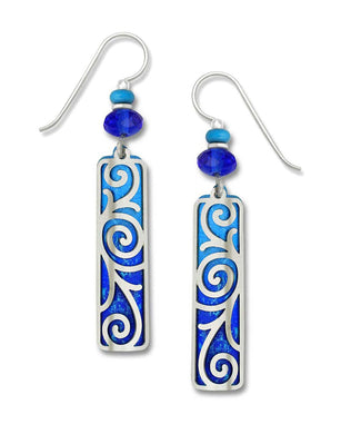 Earrings by Adajio, Intense Blue Cobalt Column w/IR Baroque Filigree Overlay