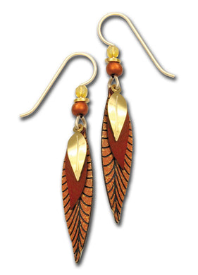 Earrings by Adajio, 3-part slender leaves in copper colors