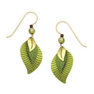 Earrings by Adajio, 3 part green & brass leaves